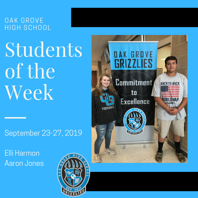 Students of the Week September 23-27, 2019: Elli Harmon and Aaron Jones