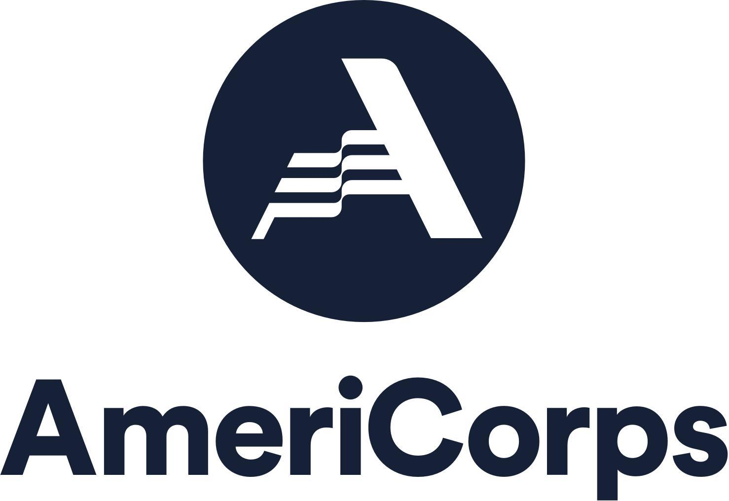 Americorp Logo -- A white A on a black circle background with AmeriCorp in bold below