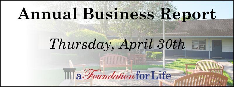 Annual Business Report Thursday April 30th