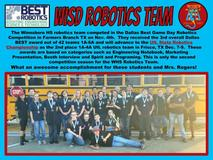 The Winnsboro HS robotics team competed in the Dallas Best Game Day Robotics Competition in Farmers Branch TX on Nov. 4th.