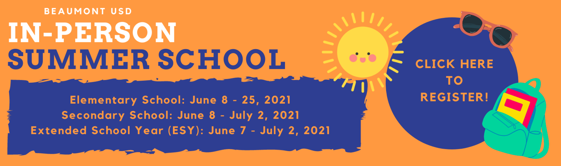 Sun, sunglasses, backpack with information to register for summer school