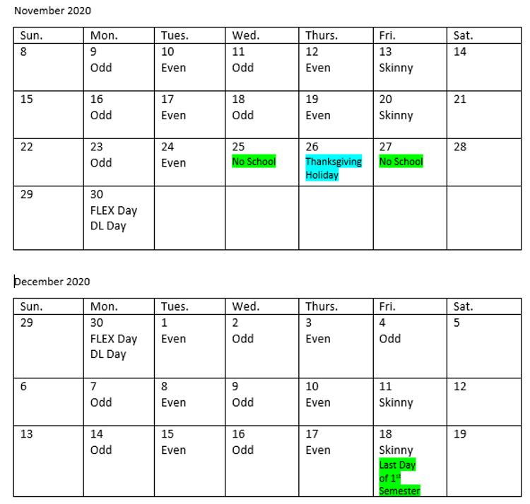 Nov/Dec Odd/Even Schedule