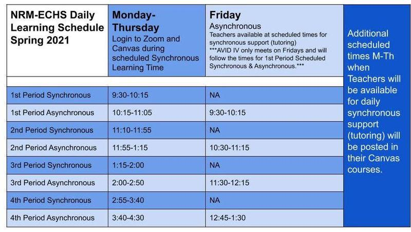 Daily Schedule Spring Semester 2021