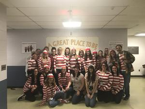 Teachers and staff dressed as Where's Waldo?