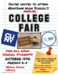 College Fair Poster. October 17th Periods 2-5 in the School Library.