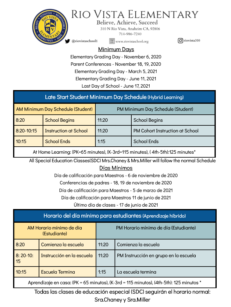 Minimum Day Schedule
