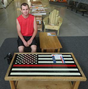 This student's table, decorated as an American flag, earned honors at the MITES contest.