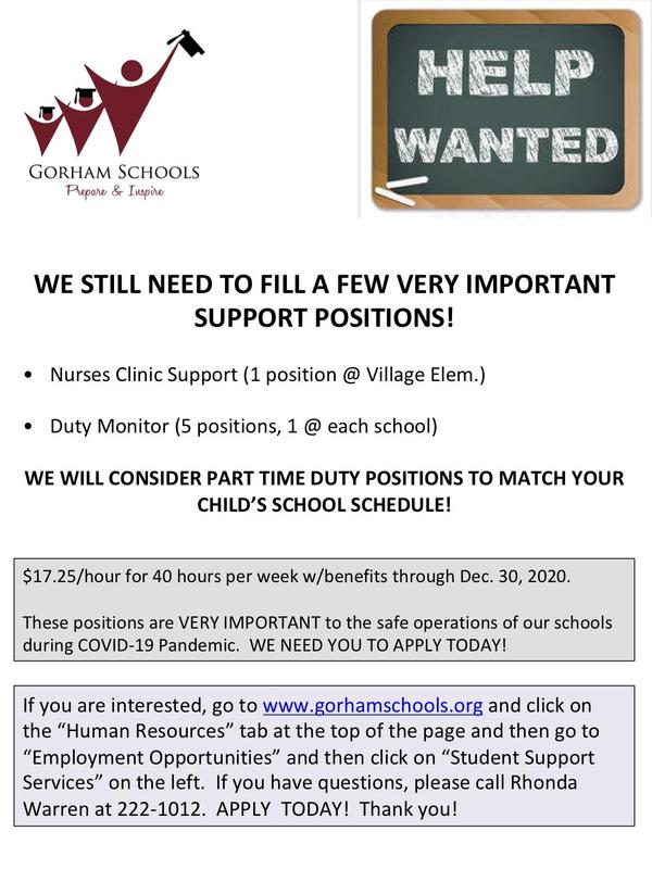 THE GORHAM SCHOOLS NEED YOU TO APPLY TODAY! Thumbnail Image
