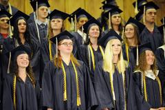 The faces of a group of graduates during the ceremony looking excited!