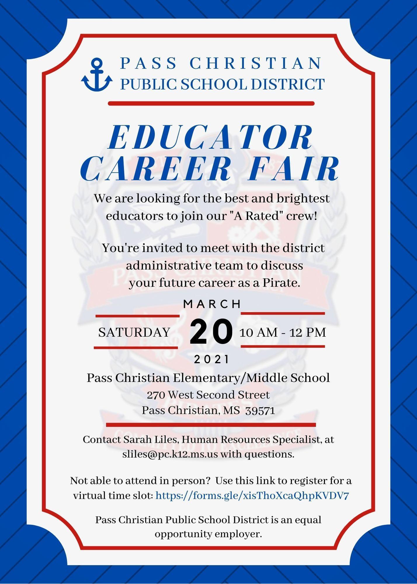 Educator Career Fair Invitation: March 20, 2021, at 10 am
