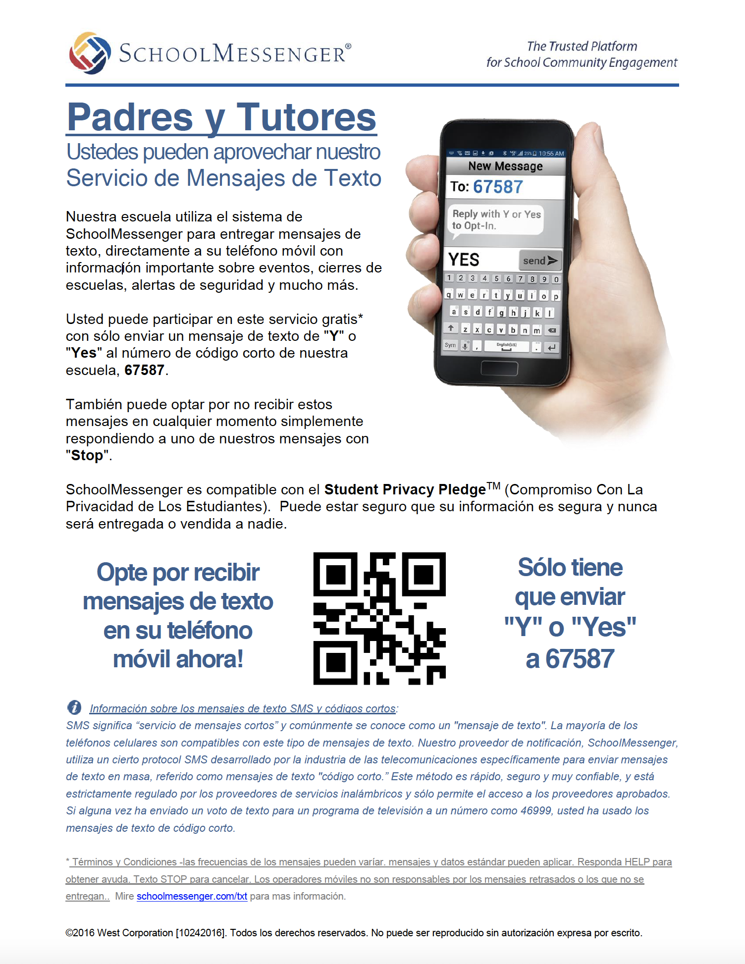 in Spanish: SMS information for school messenger