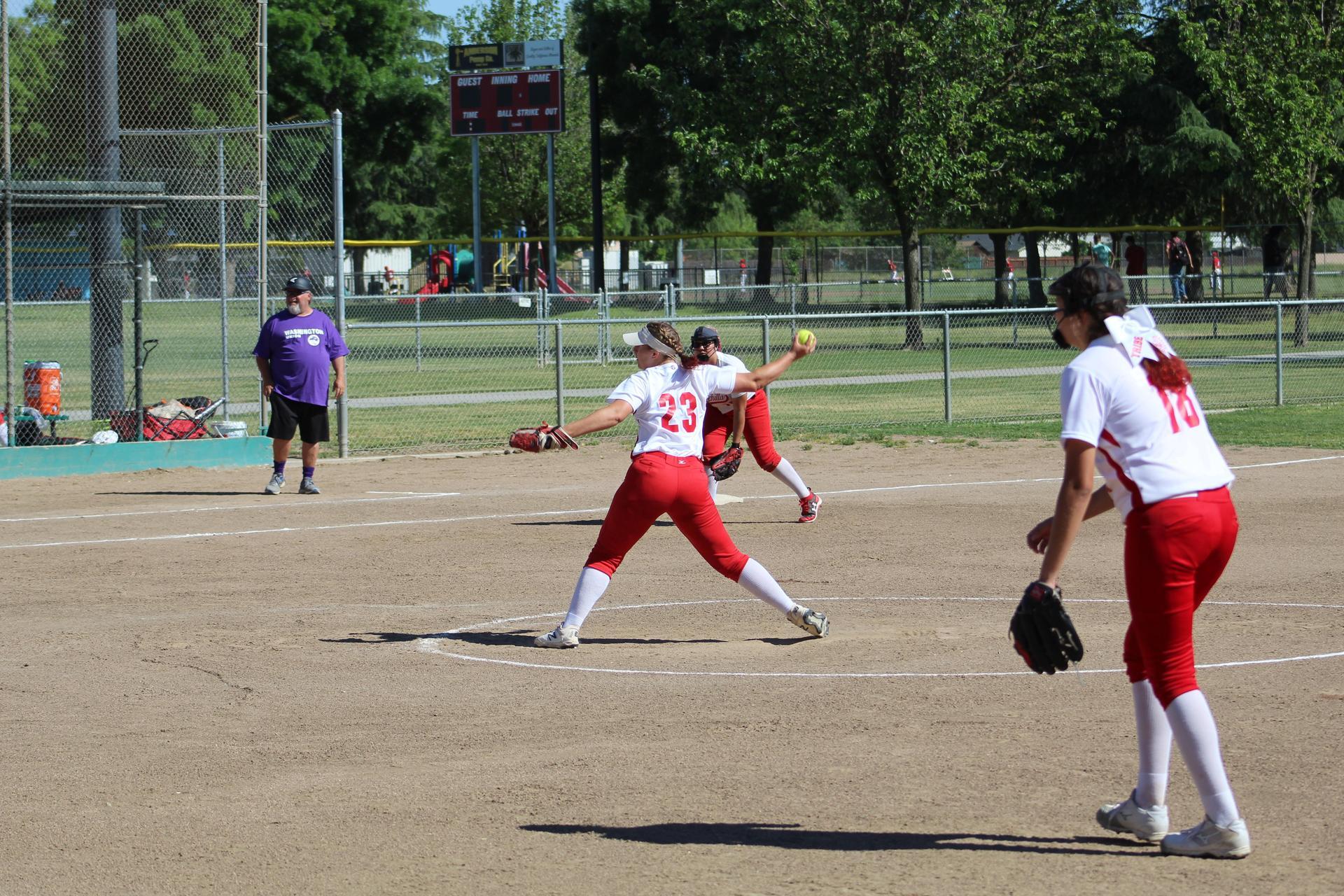 JV softball in action against Washington Union