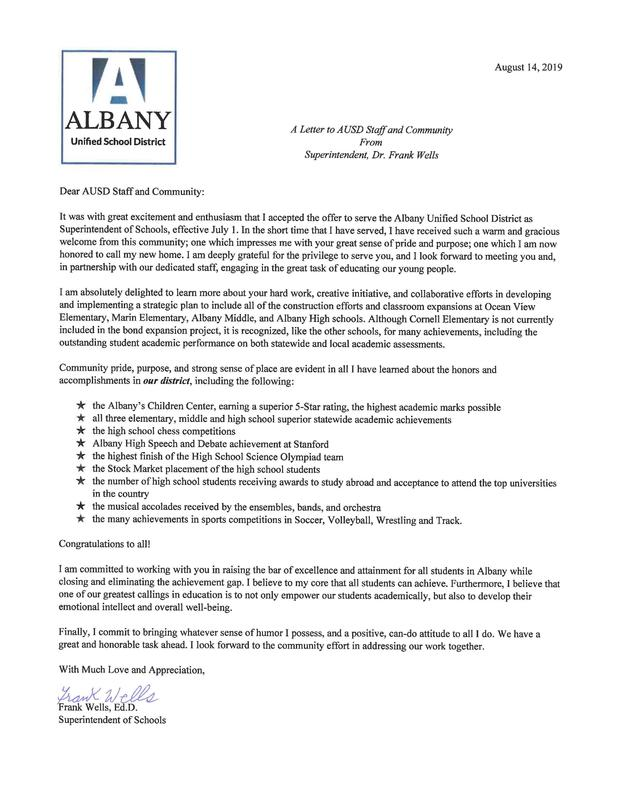 Supt. Letter to Community