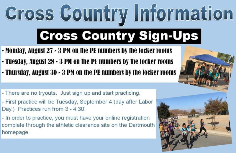 Information on signing up for Dartmouth Cross Country