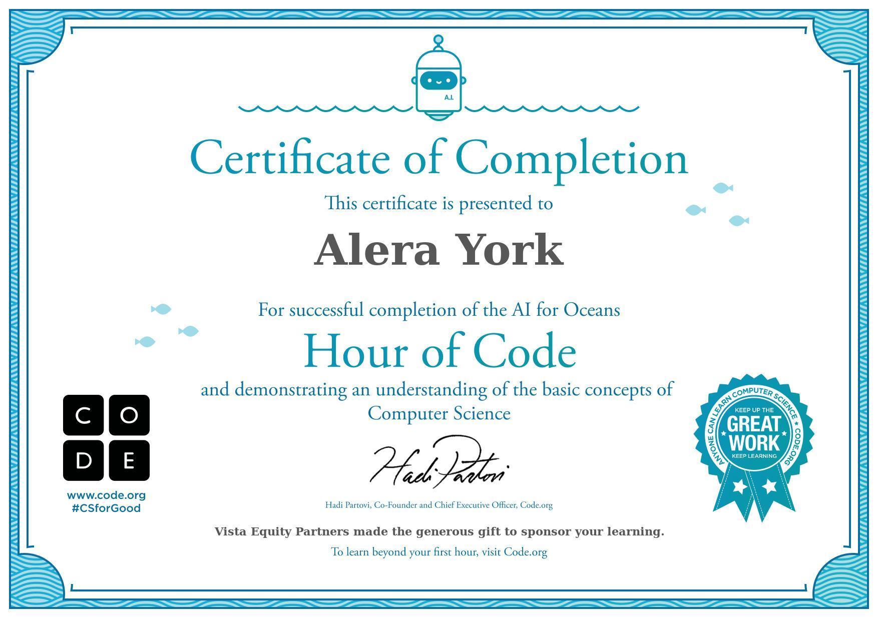 certificate hour of code