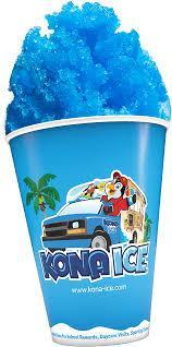 image of a Kona Ice cup with blue shaved ice inside