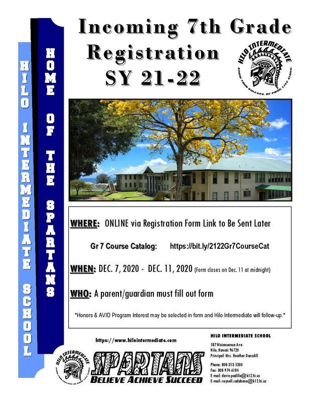 Hilo Intermediate School Incoming 7th Grade Registration