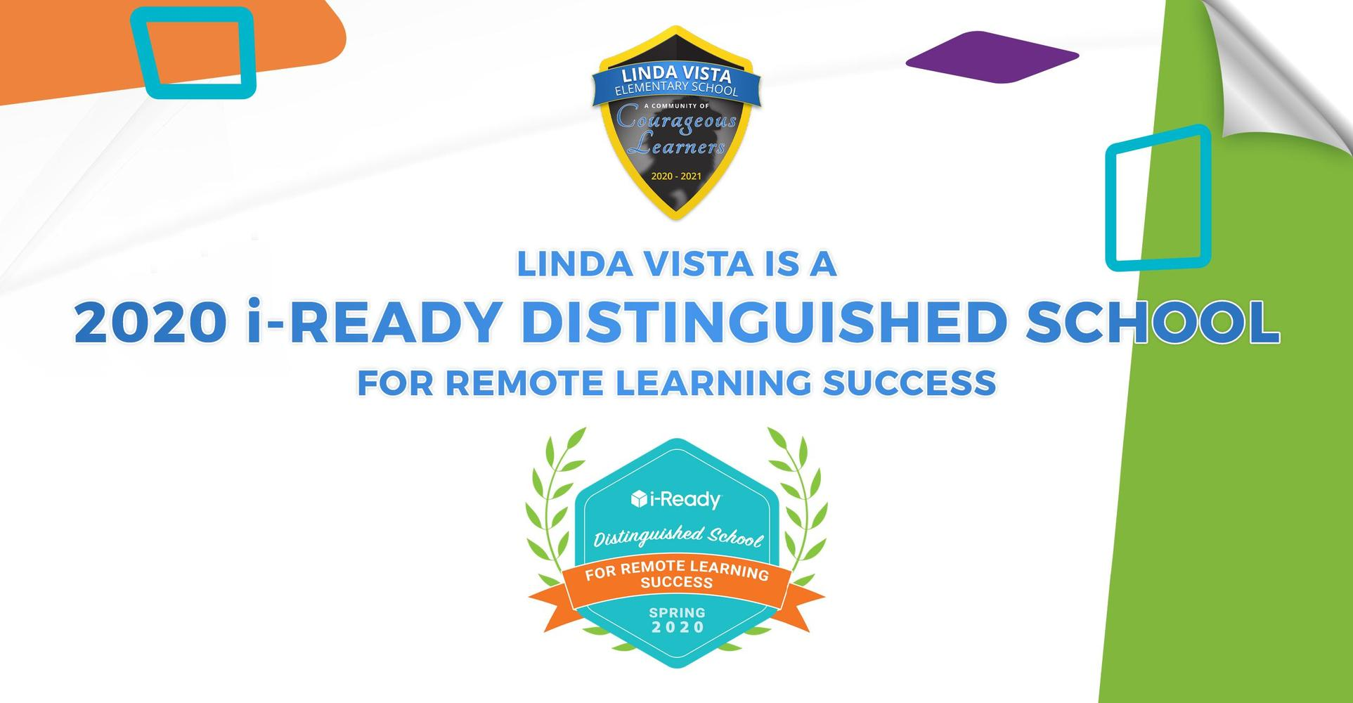 Linda Vista Is Proud to Be a 2020 i-Ready Distinguished School