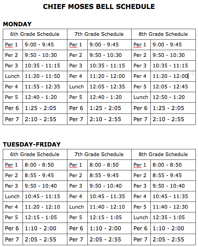 CMMS Bell Schedule (Available as text on CMMS website)