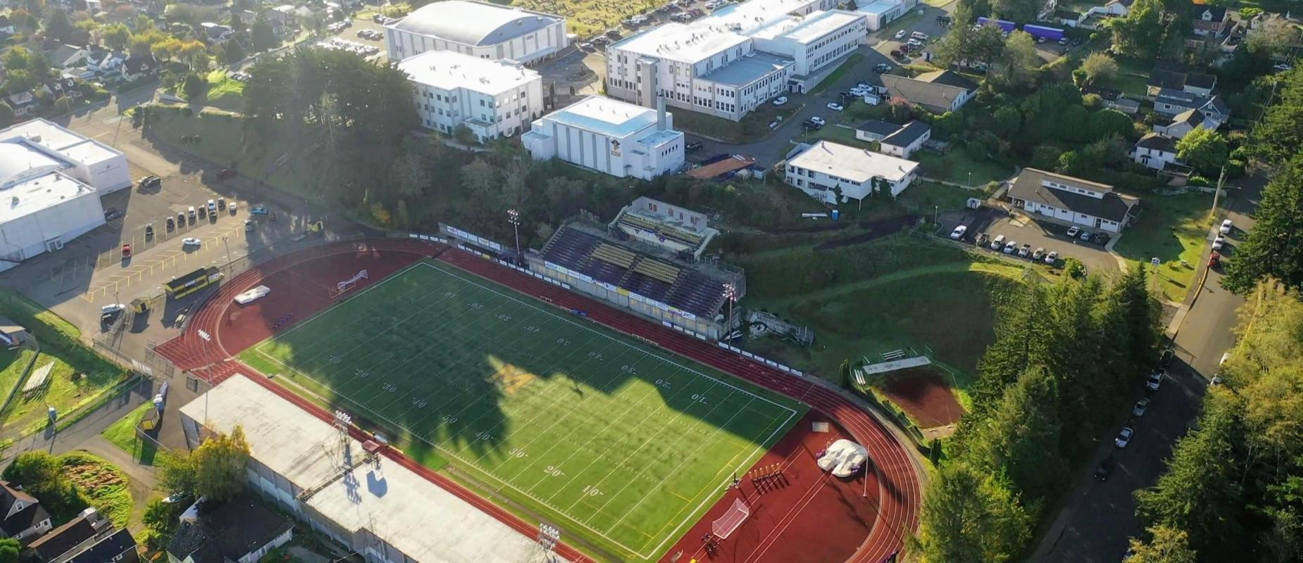 Aerial Shot from above Football Field