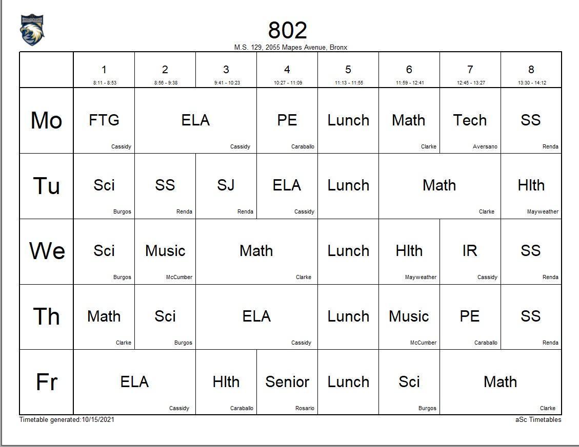 802 class schedule