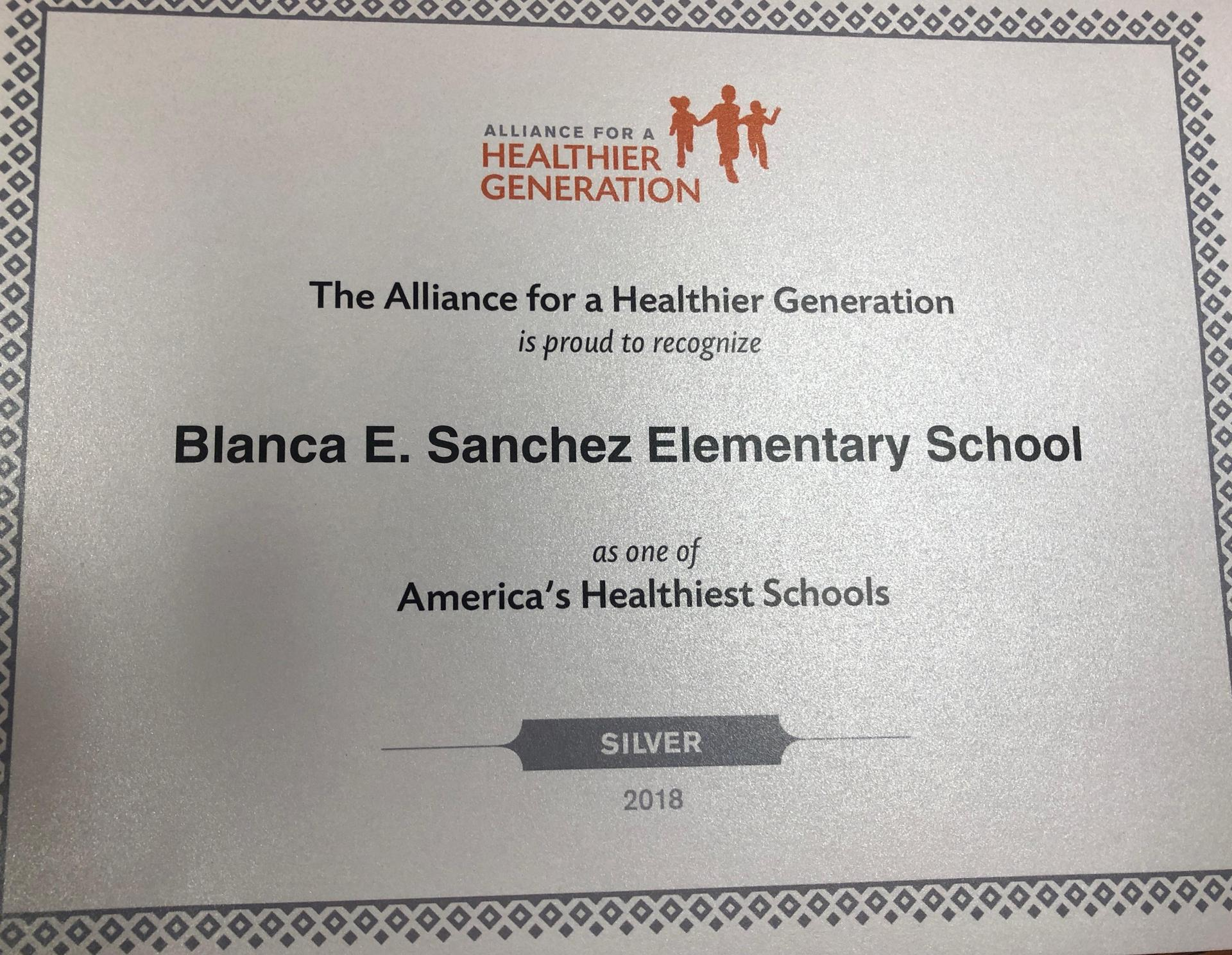 Silver Position for alliance for a healthier generation