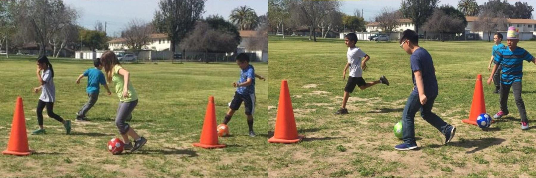 Students running and obstacle course in the field