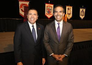 ECISD Superintendent Dr. René Gutiérrez (pictured left) visits with Texas Land Commissioner George Prescott Bush at the McAllen Convention Center.