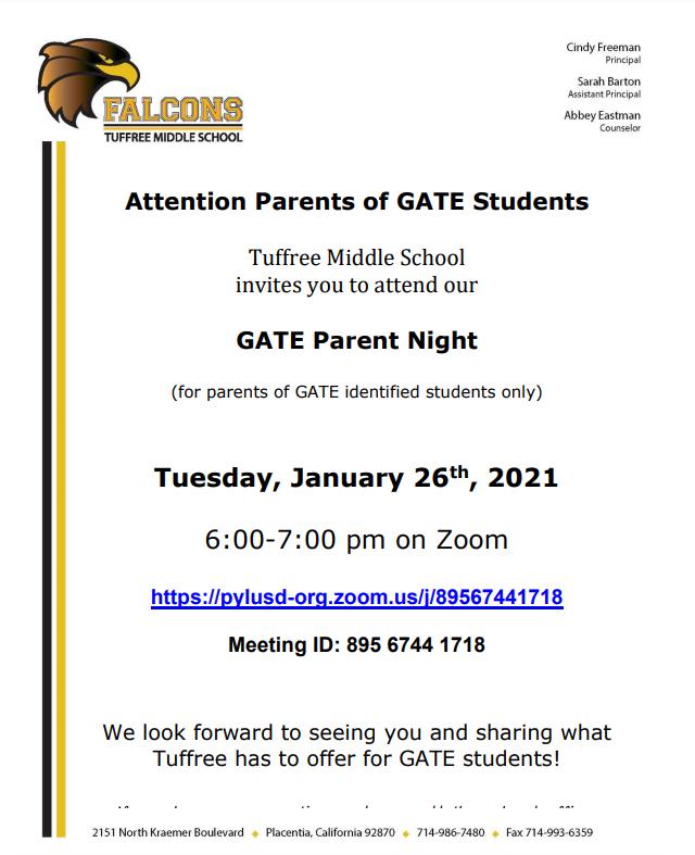 GATE Night Invite
