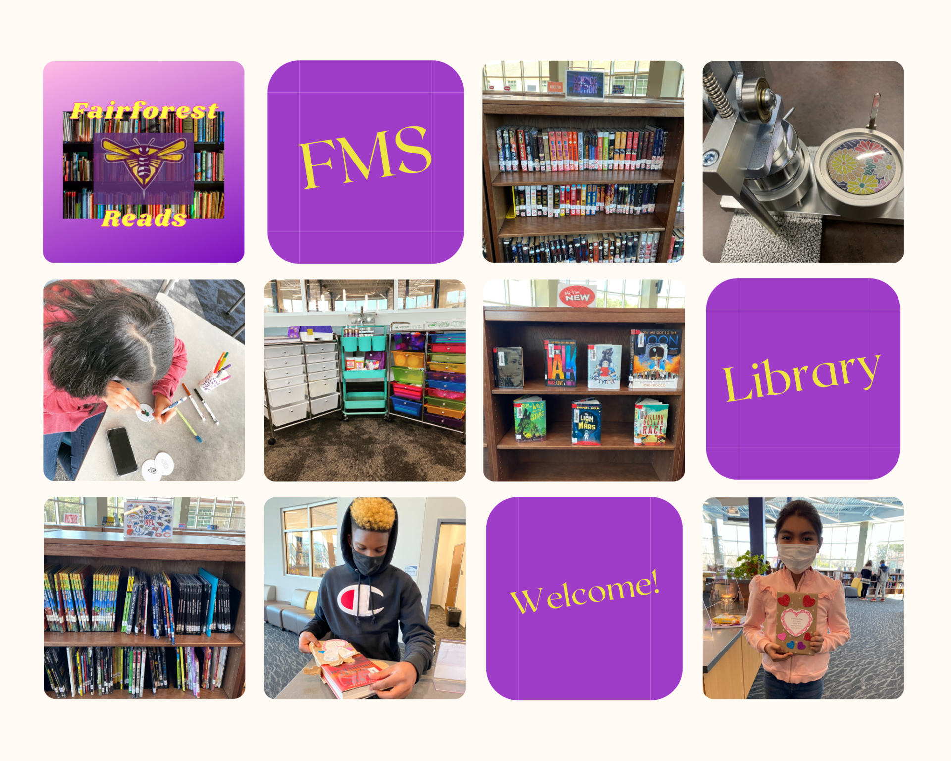 Collage of students and books in the library