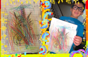 Boy holding rainbow scribbles over dog drawings collage