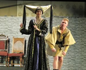 Madeline Clark and Logan Tolan rehearse a scene as king and queen in