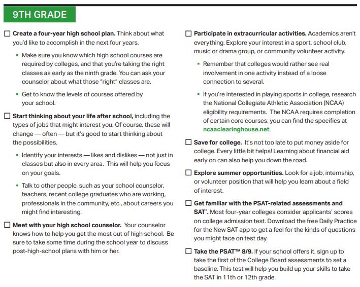 9th grade planning