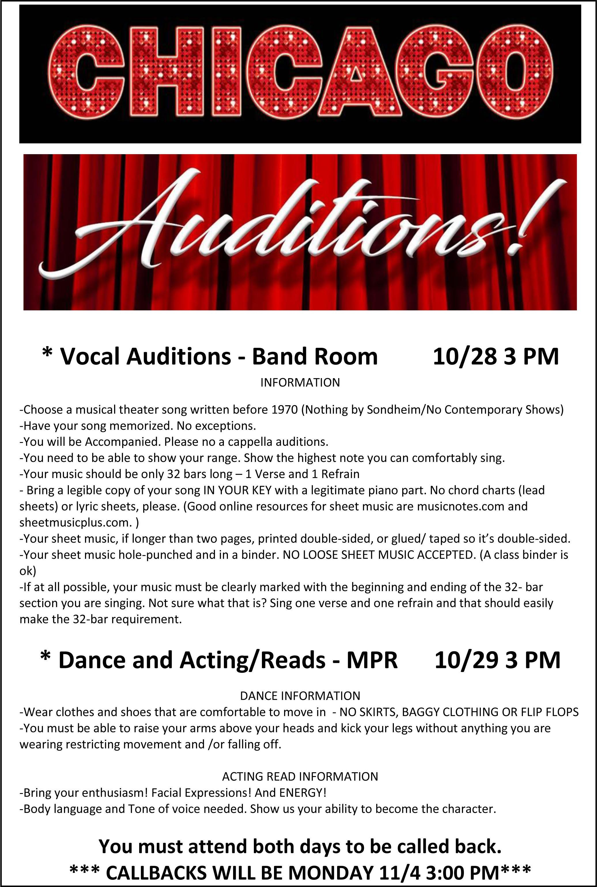 auditions for Chicago; for info email Will Guilford at wguilford@slvusd.org