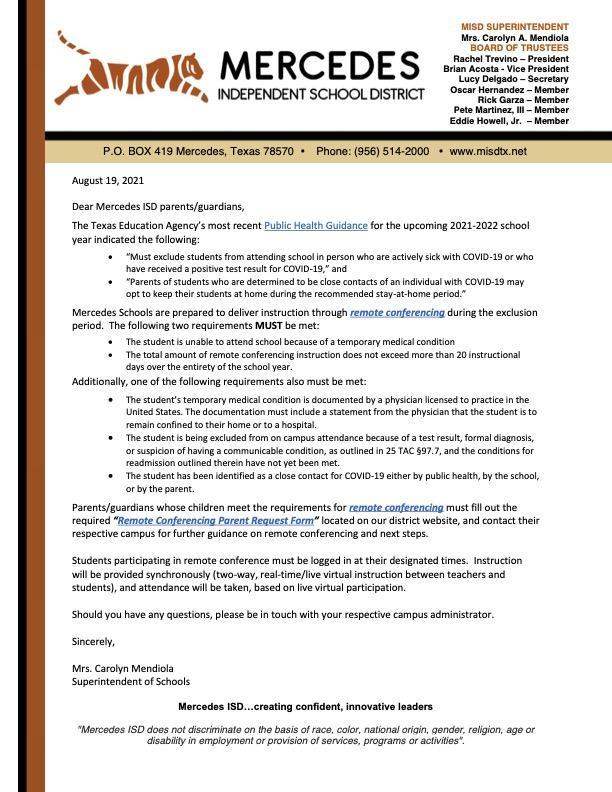 IMPORTANT: Notice to Parents about Remote Conferencing | Letter from Superintendent Featured Photo