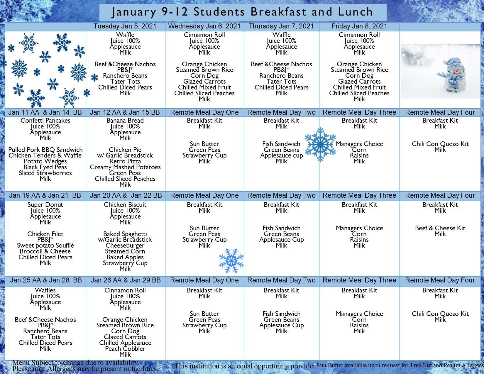 9-12 AA/BB Breakfast & Lunch January