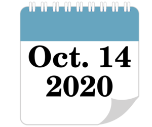 calendar page with text Oct. 14 2020