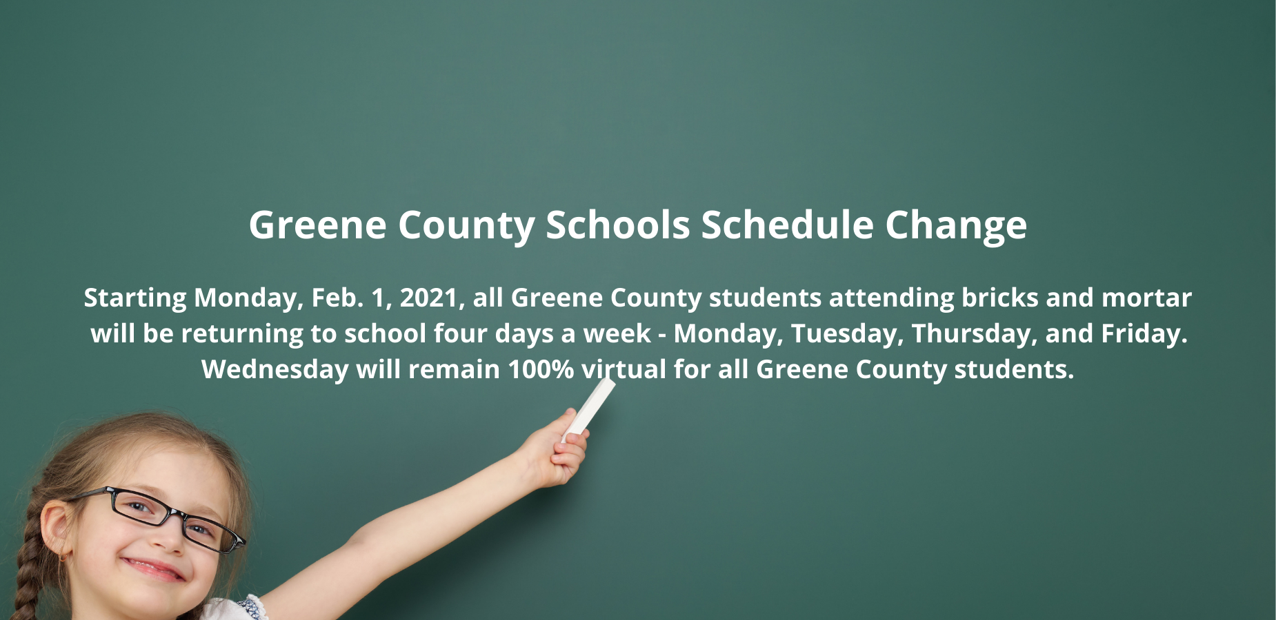 GCS Schedule Change Starts Monday, Feb. 1, 2021