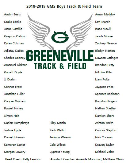 2018-2019 GMS Track & Field Team (Boys)
