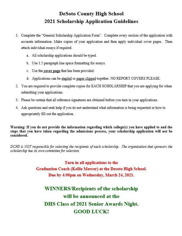 DCHS Local Scholarship Application