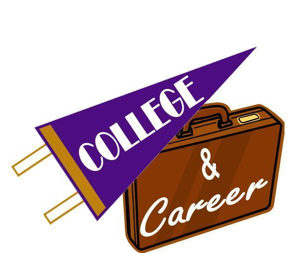 Banner and briefcase. Words colleges and career written on them.