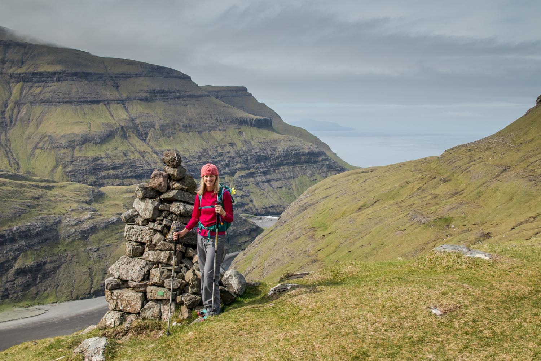 Halfway up a VERY steep hike in the Faroe Islands.
