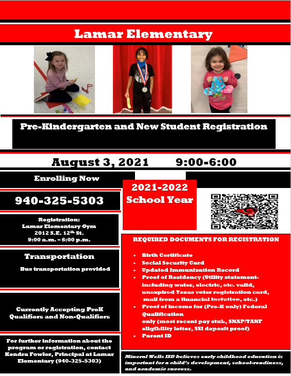 English flyer with information for registration August 3rd