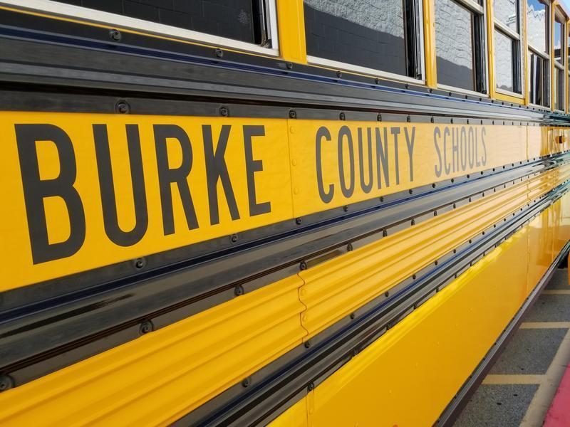 A photo of the side panel lettering on a Burke County school bus