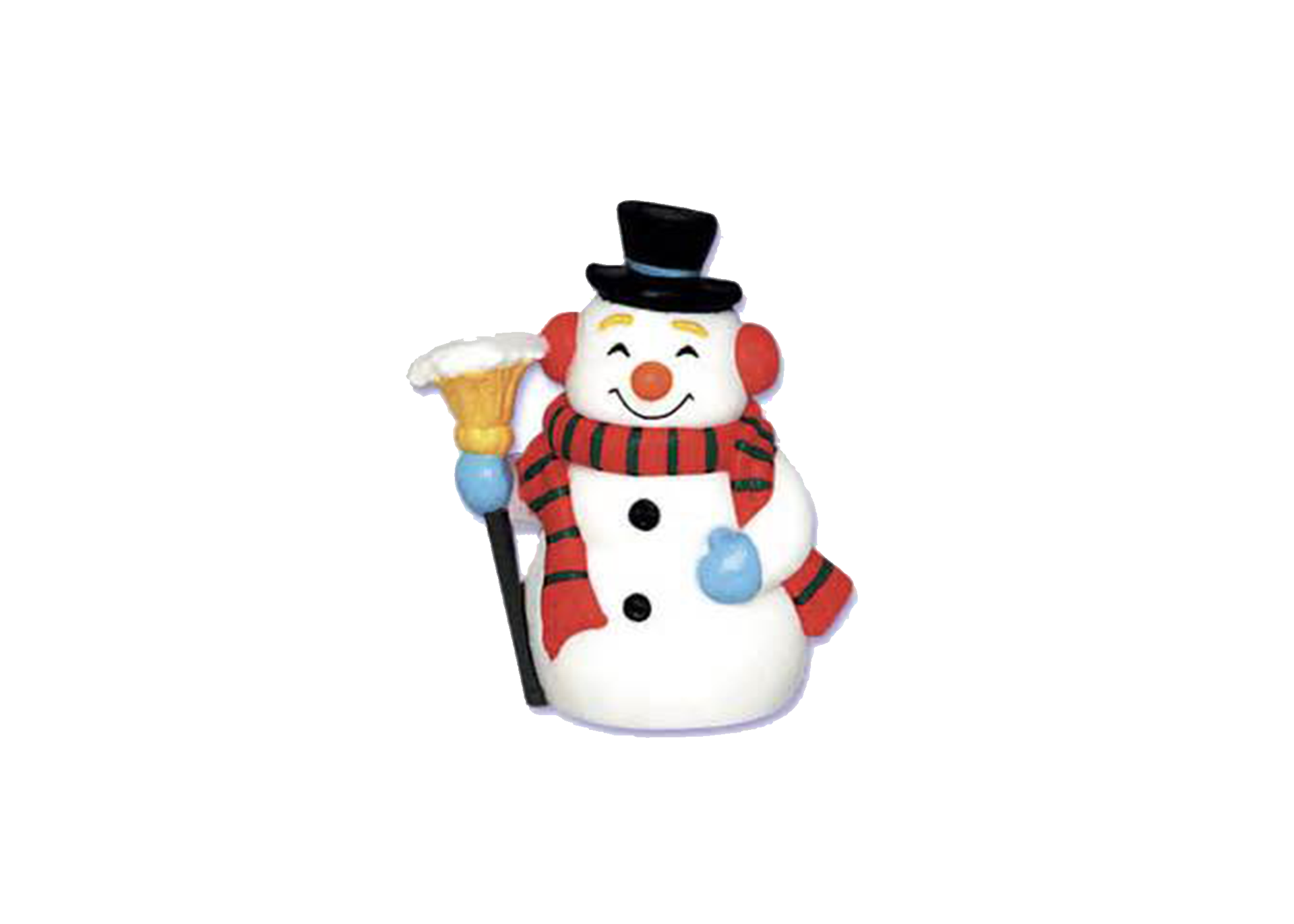 Smiling snowman with a top hat and a broom