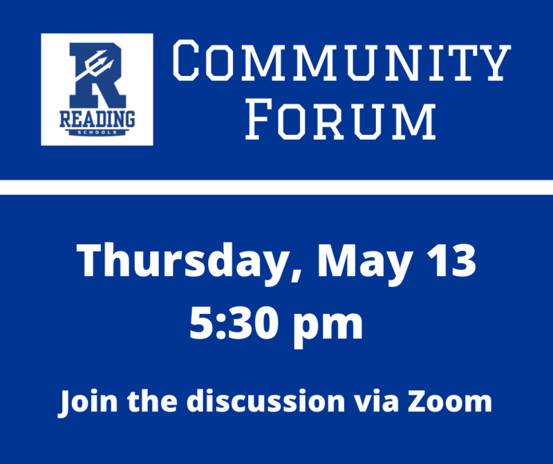 Community Forum. Thursday, May 13 at 5:30 pm. Join the discussion via Zoom.