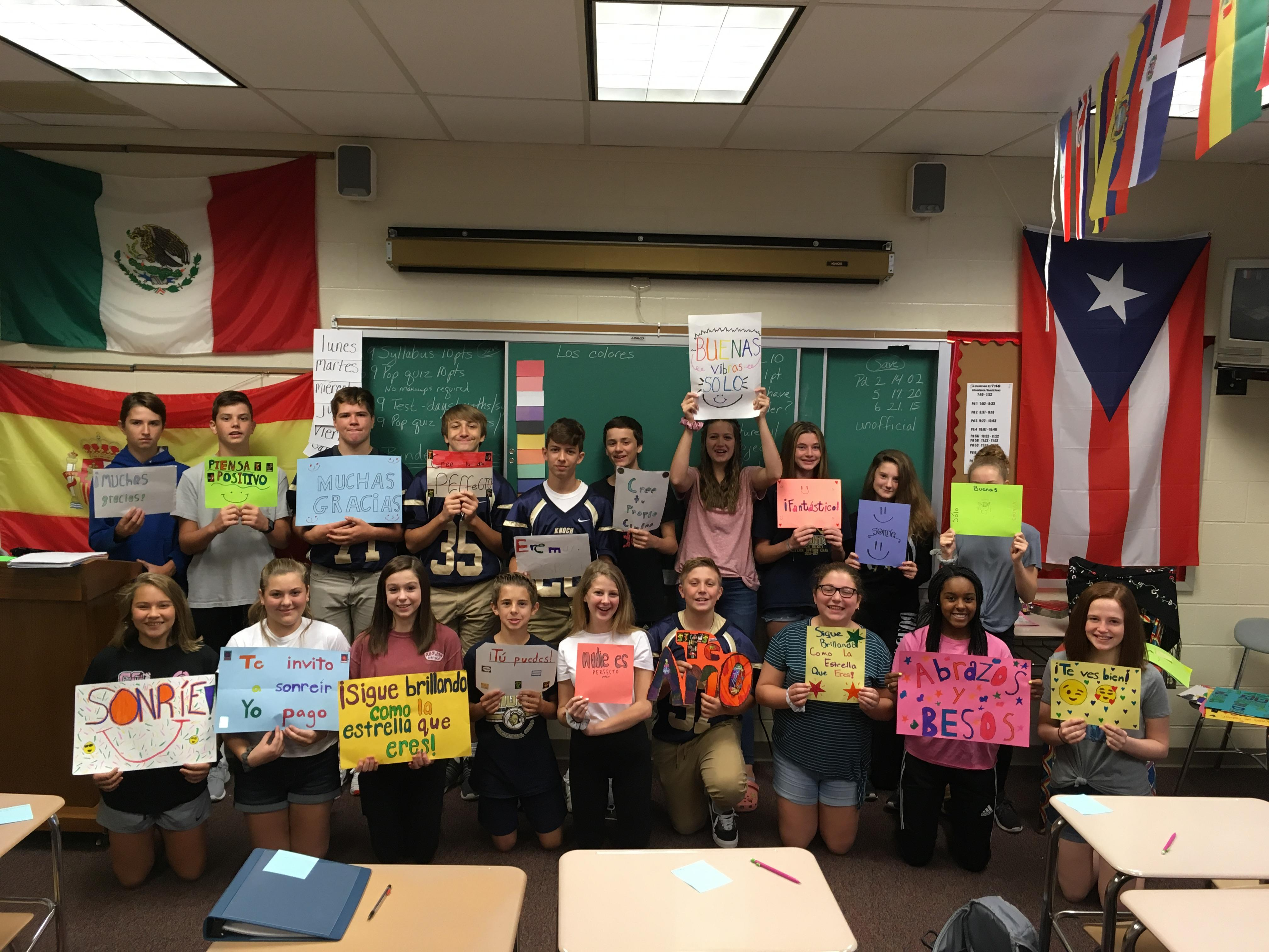 Spanish class with their posters