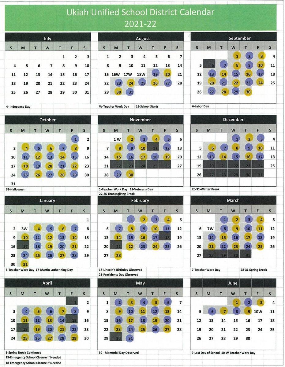Ukiah Unified School District Calendar 2021-22