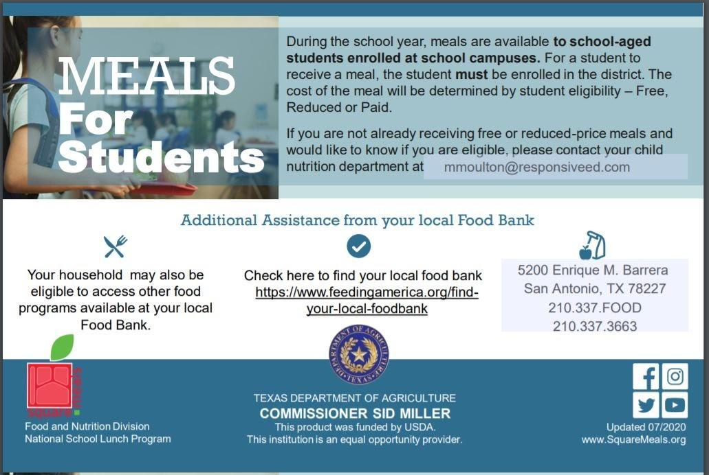 Meals for Students Info