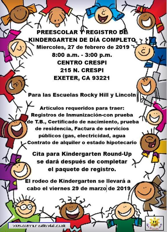 preschool and kinder registration info- spanish version